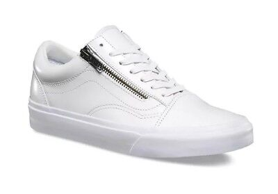 7add96a6e8fef0 Vans Mens 3.5 Womens 5 Old Skool Zip DX Smooth Leather True White Shoes  Sneakers
