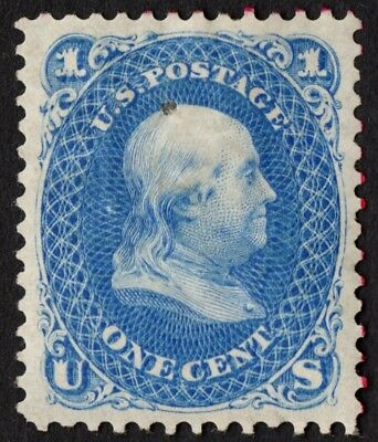 "US Sc# 102 *MINT OG H* { XF- 1875 REISSUE 1c FRANKLIN } HOLE ""SCARCE CV$ 1300.00"