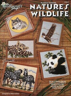 Nature's Wildlife ~ Eagle Panda Zebras Wolf &More plastic canvas pattern booklet