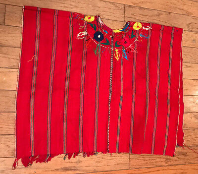 Vintage Hand Embroidered Mexican Poncho Huipil  Red Oaxaca