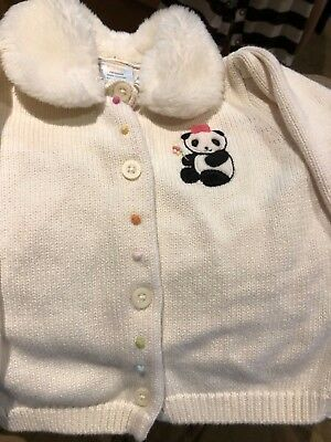 Gymboree Baby Girls 6-12 months Cardigan Sweater Panda with Removable Collar