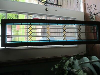 Antique Stained Leaded And Cut Glass Transom Window