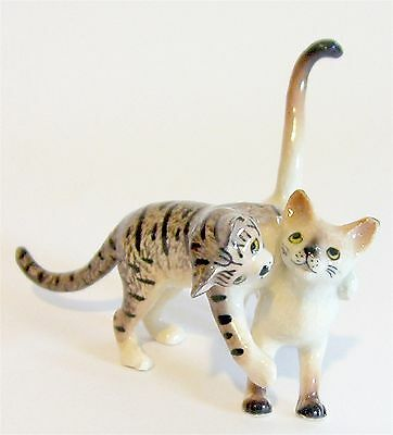 Playing Cats Miniature Porcelain Figurine - Tabby Cat & Siamese Cat  (1 Piece)