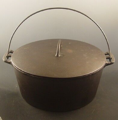 "Antique ""WAGNER"" Block Arc Arch Cast Iron Dutch Oven Roaster Bail Handle w Lid"
