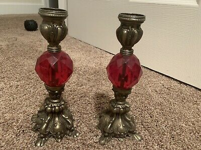 Vintage Victorian-Style Red Brass Pair Of Small Lamps NICE!
