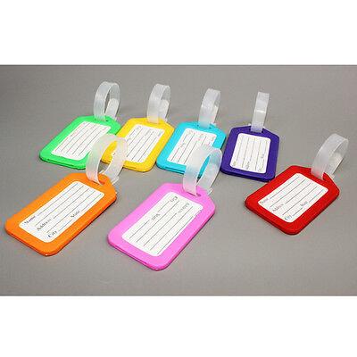 5* Travel Luggage Bag Tag Name Address ID Label Plastic Suitcase Baggage Tags