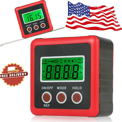 4*90° Digital LCD Magnetic Protractor Inclinometer Bevel Level Box Angle Finder