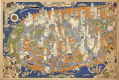 1938 Pictorial Map Downtown district of Manhattan New York Wall Art Poster Decor