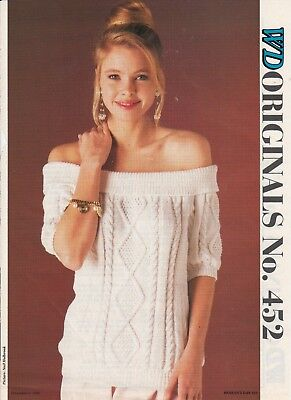 Ladies' Knitting Pattern Copy Cabled Jumpers 8 Ply Off-shoulder Top