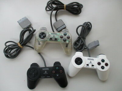 PS1 HORIPAD Controller Clear Black White Lot of 3/Yellowed Scratches JP NO1