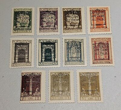 Stamp Pickers Fiume Classic Stamps 1924 Overprint Mint MNH Set Scott #196-207