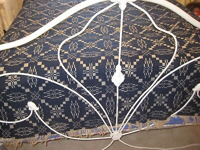 Antique 1800's Hand Woven Wool Coverlet-Bedspread Indio Blue Beautiful
