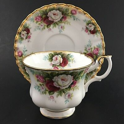 Royal Albert Celebration Teacup And Saucer White With Pink Flowers Gold Trim