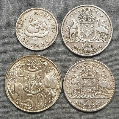 Lot Of 4 Australia Silver Coins - Shilling, (2) Florin & 50 Cents