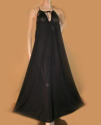 Midnight Black FREE BUSTED Long Nylon Lingerie Dress Gown Lace Trim Nightgown L