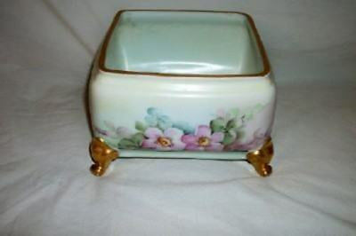 Antique French German HP Porcelain Floral Footed Cache Pot Chic Shabby Cottage