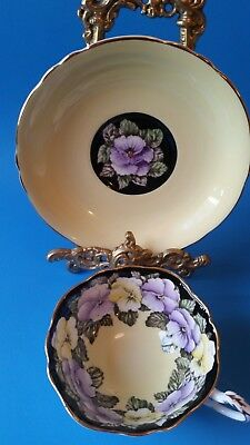 Paragon Yellow and Violet Pansy Tea Cup and Saucer