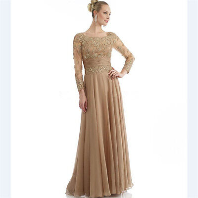 LONG SLEEVE GOLD Mother of the Bride Dress for Weddings with Lace Sequins