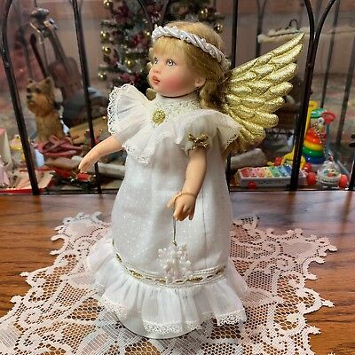 "7.5"" KISH RILEY in Hand Smocked CHRISTMAS Pageant ANGEL OUTFIT Halo & Wings"