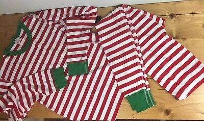 Hanna Andersson Adult L Large Pajamas Christmas Red Green Striped Long John PJ's