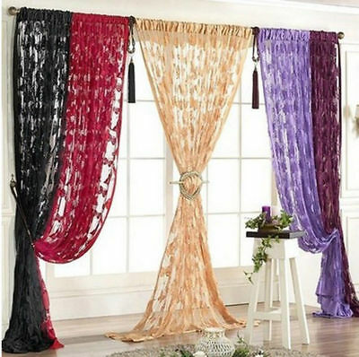 1 Piece New Lace Net Curtain Butterfly String Room Window Tassel Panel Decor