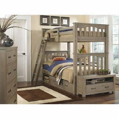 NE Kids Highlands Driftwood Harper Twin/Twin Bunk Bed with Storage - 10051NS