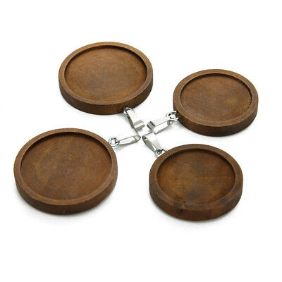 20pcs Wooden DIY Accessories Cabochon Tray Unisex Necklace Pendant Round Base