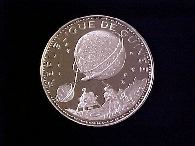 Guinea 250 Francs Pure Silver Proof 1969 Moon Landing Nice