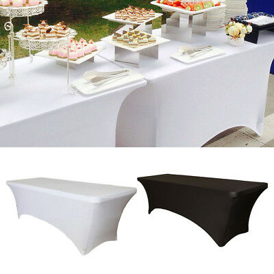 Spandex Fitted Stretch Tablecloth Table Cover Wedding Banquet Party Black&white