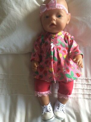 "Doll Clothes to fit 17"" Baby Born doll ~ 3 Piece Set. Pink ~ Strawberries"