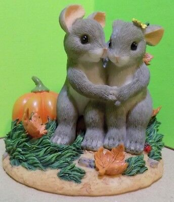 """Charming Tails """"it's Snuggl'in Weather, Fitz & Floyd 85/510 Bunnies, Pumpkin"""