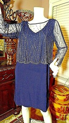 PATRA by CHEN  Formal Knee Length Dress, Cocktail, Gem Overlay, Navy Size 12 NEW