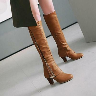 Women Lace Up Fringe Suede Mid Calf Boots Side Zip Chunky High Heels Warm Ske15