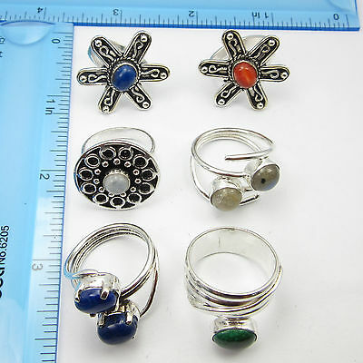 FREE SHIPPING LOTS 6PC ! Silver Plated Metal Jewellery Beautiful Rings