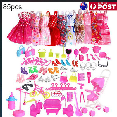 85PCS Outfits Clothes Set 10 Pack Clothes &75Pcs Accessories for Barbie Dolls AU