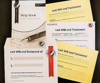 Last Will And Testament Kit, Easy To Complete, Free Legal Helpline