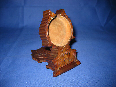 Antique Late Victorian Black Forest Carved Wood Pocket Watch Display / Stand