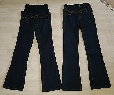 NEW LOOK size 8 jeans MATERNITY regular bootcut blue bundle under over bump