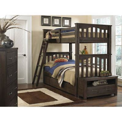 NE Kids Highlands Espresso Harper Twin Bunk Bed with Trundle - 11051NT