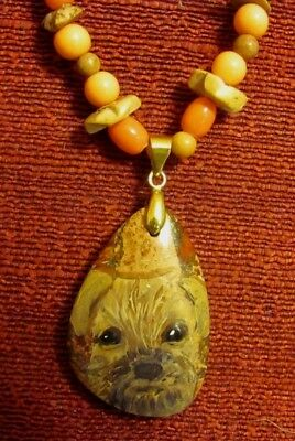 Border Terrier hand painted on small Crazy Lace Agate pendant/bead/necklace