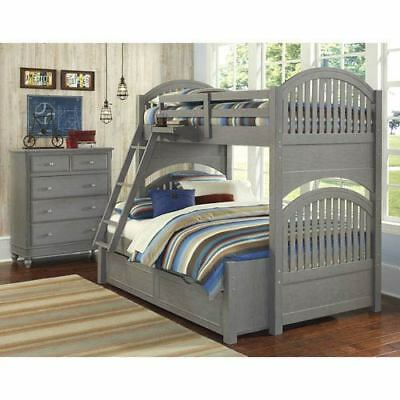NE Kids Lake House Stone Adrian Twin Over Full Bunk Bed with Trundle - 2035NT
