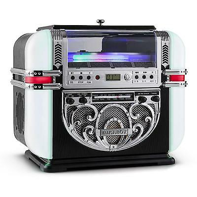 Jukebox Radio Anni 50 Vintage Am / Fm Lettore Cd Mp3 Aux Bar Locali Pub Luci Led