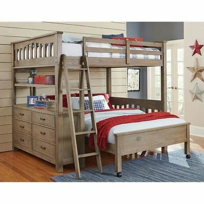 NE Kids Highlands Driftwood Full Loft Bed with Full Lower Bed - 10080NLFB