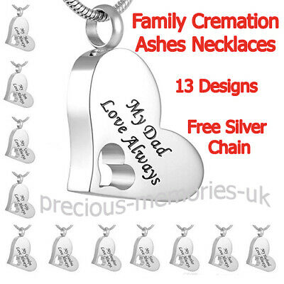 Family Cremation Ashes Necklace Funeral Memorial Jewellery Keepsake Urn Pendant