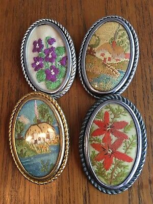 4 Wool Hand Embroidered Brooches Vintage From 1930-40s Approximately