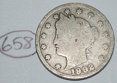 United States 1902 Liberty Head Nickel USA 5 Cents Coin Lot #658