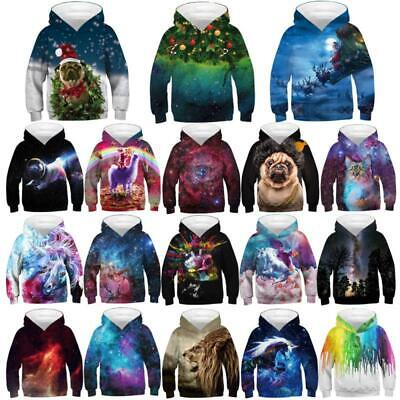 Kids Boys/Girls Galaxy 3D Print Hoodie Sweatshirt Pullover Jumper Coat Christmas