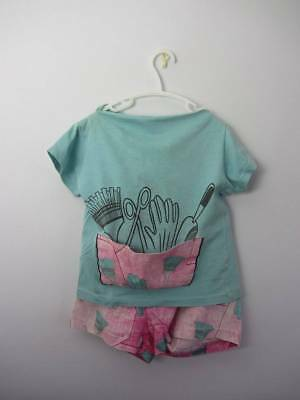 Vintage 60's little girls gardening tom boy shorts & T age 6