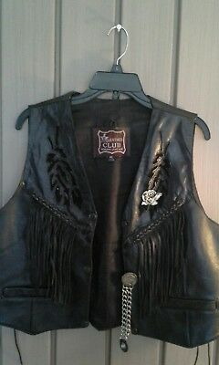 Leather Club Genuine Leather Xl Motorcycle Vest Eagle Pin , Indian Head Chain