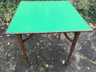 Old Antique Victorian Campaign Folding Oak Green Velvet Top Card Games Table